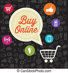 Buy Online (add to cart) with Icons. On black background....