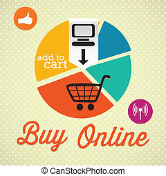Buy Online (add to cart), Retro colors (Pie Graph). On...