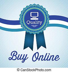 Buy Online Label of quality. Vector illustration