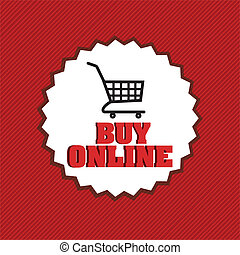 buy online icon on red background