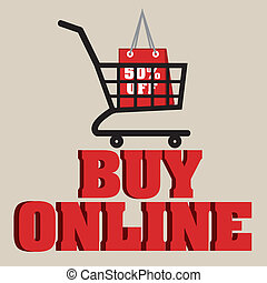 buy online text with shopping car on light brown background