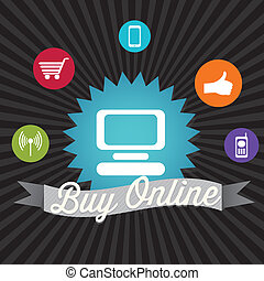 Buy Online Banner, with media icons. On black background