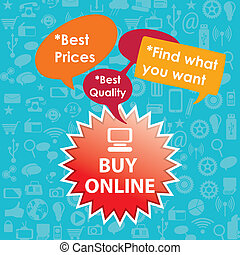 Buy Online label with text bubbles. On blue background
