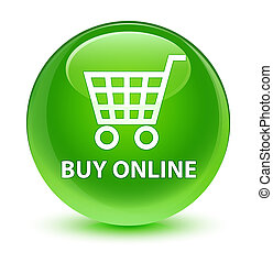 Buy online glassy green round button