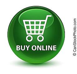 Buy online glassy soft green round button