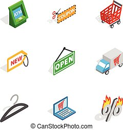 Buy online icons, isometric 3d style