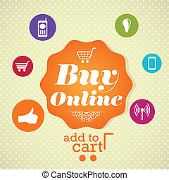 Buy Online label, Retro colors icons. On vintage background