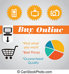 Buy Online (Pie Graph)with icons. On grey background