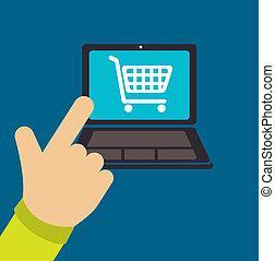 Buy online design over blue background, vector illustration