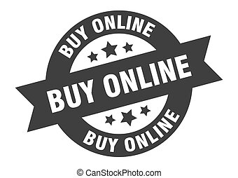 buy online sign. round ribbon sticker. isolated tag