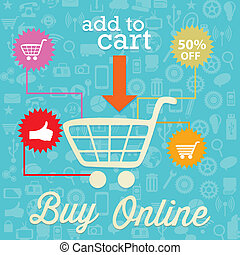 Buy Online (add to cart) On blue background. Vector