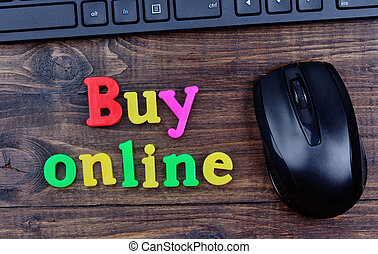 Buy online words on table