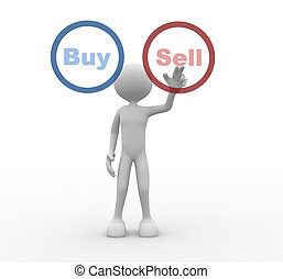 """3d people - man, person pressing a button """" Buy """" or """" Sell""""."""