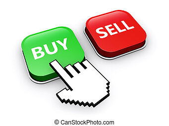 Buy and sell button on stock trading software