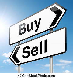 Illustration depicting a roadsign with a buy or sell concept. Sky background.