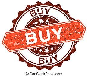 buy orange round grunge stamp on white