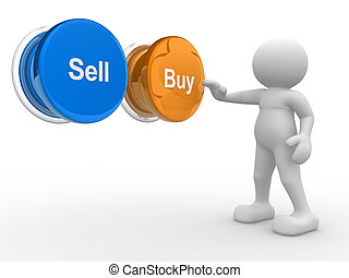 "3d people- human character , person pressing a button "" Buy "" or "" Sell"". 3d render illustration"