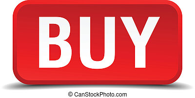 buy red three-dimensional square button isolated on white background
