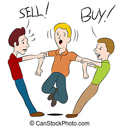 An image of a people arguing over whether to buy or sell.
