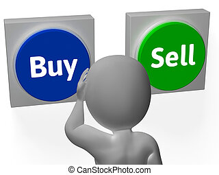 Buy Sell Buttons Show Trading Stocks Or Shares - Buy Sell...