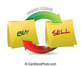 buy sell currency diagram illustration design over a white...