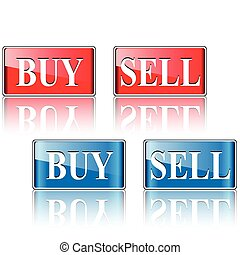Buy, sell icons, buttons