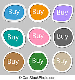 Buy sign icon. Online buying dollar usd button. Multicolored paper stickers.