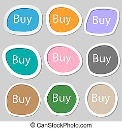 Buy sign icon. Online buying dollar usd button. Multicolored paper stickers. Vector