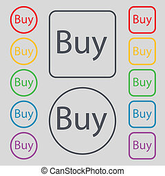 Buy sign icon. Online buying dollar usd button. Set of colored buttons.