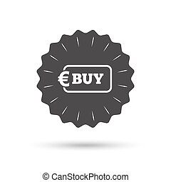 Buy sign icon. Online buying Euro button.