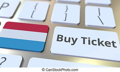 BUY TICKET text and flag of Luxembourg on the buttons on the...