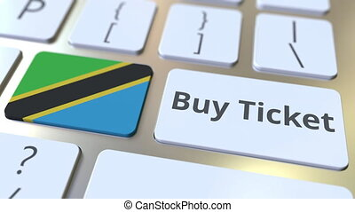 BUY TICKET text and flag of Tanzania on the buttons on the...