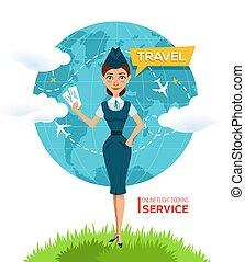Buy tickets online. Advertising poster, banner. Stewardess...