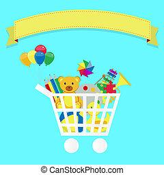 Buy Toys - Shopping cart full of toys. Colorfu artwork....