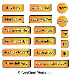 Buy web orange buttons for website or app