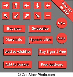 Buy web red buttons for website or app