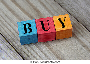 buy word on wooden colorful cubes