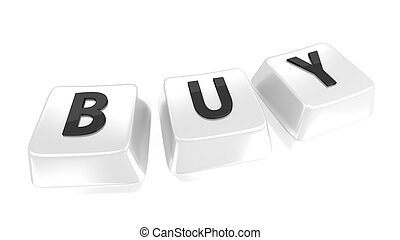 BUY written in black on white computer keys. Isolated background.
