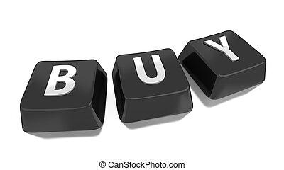 BUY written in white on black computer keys. 3d illustration. Isolated background.