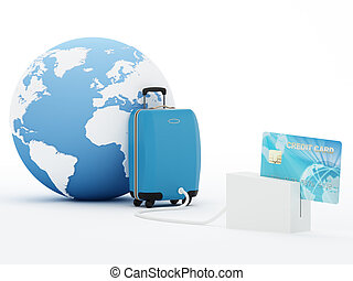 Buy your travel online - Isolated suitcase and globe with ...