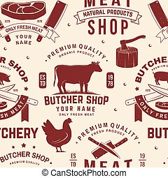 Buychery shop seamless pattern, background. Vector. Seamless pattern design with cow, pig, turkey, chickent, goose silhouette. For butchery meat shop, market, restaurant business.