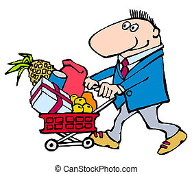 Cartoon: funny man with shopping basket complete various purchases. on a white background