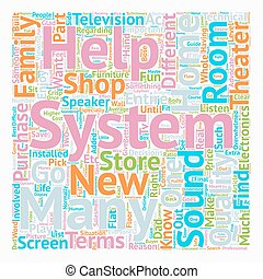 Buyer s Guide To Home Theater Systems text background wordcloud concept