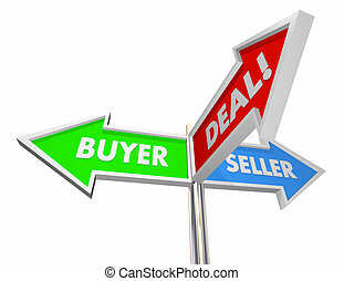 Buyer Seller Negotiate Deal Sold Customer Signs 3d Illustration