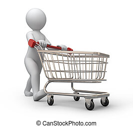 buyer with a shopping cart - buyer, 3d human and shopping...