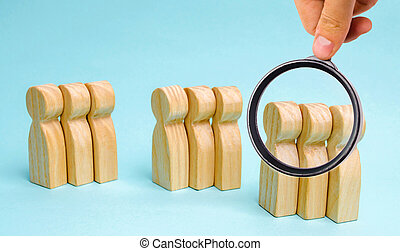 buyers., 概念, 分析, 管理, ターゲット, グループ, 顧客, 市場, segmentation, 聴衆, 人々。, segmentation., 関係, グループ, 木製である, マーケティング, care.