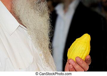 buyer's, cítrico, ritual, -, mão, fruta