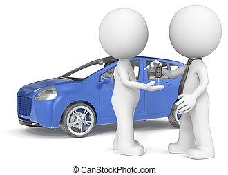 Buying a Car. - The Dude getting car keys from dealer. Blue...