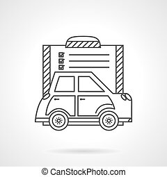 Buying a car flat line vector icon