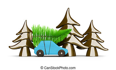 buying a christmas tree with a blue car